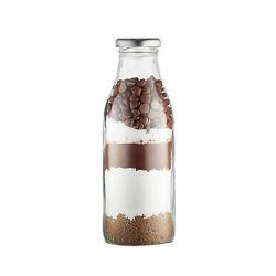 1L Liter Customized Printing Logo Round Glass Water/Beverage/Juice Bottle Glassware Milk Bottle, Tinplate Cap Glass Milk Bottle