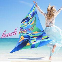 Microfiber Beach Towel Blankets Towel, Anti Sand Beach Towel with Chair Clips