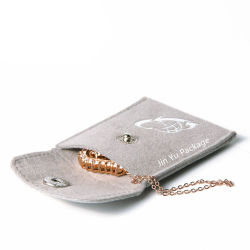 High End Velvet Jewelry Gift Packaging Pouch Bags with Button