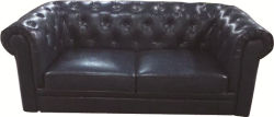 MID-Century Modern Microfiber Leather Tufted Chesterfield Loveseat Sofa