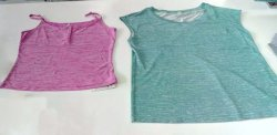 Custom ladies tops with colorful yarn dyed stripe fabric