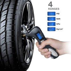 Multifunctional Digital Tire Pressure Gauge with LED Flashlight Car Window Breaker Seatbelt Cutter Red Safety Light