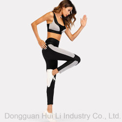 Contrast Panel Sports Bra with Leggings