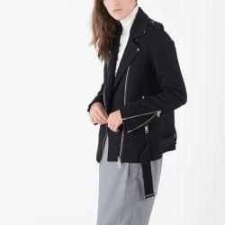 Winter Zipper up Hip-Length Black Cashmere Biker Jacket for Women