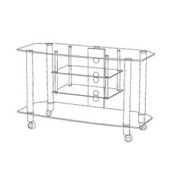 Tempered Glass TV Stand TV Table with 4-Tier Shelves
