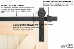 8 Foot Heavy Duty Sliding Barn Door Hardware Kit (Black)