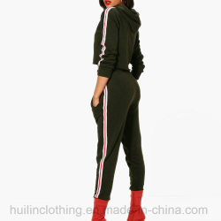Athleisure Sports Tape Hooded Tracksuit Sets for Women 2 Piece