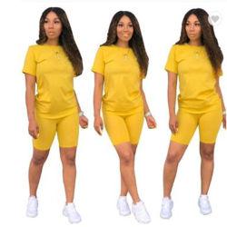 Hot Selling Custom Logo Plain Color Gym Wear Summer Sport Two Piece Shorts Women Set