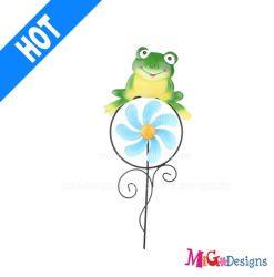Cute Mini Frog Metal Garden Wind Spinner Stakes