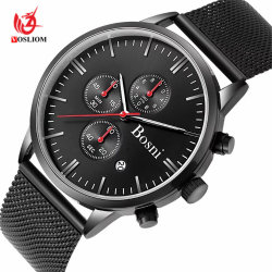 Men Watch Chronograph Analog Quartz Sport Watch with Date and Milanese Mesh Strap #V400