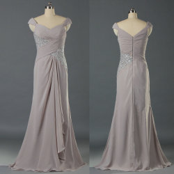 1165572603 Ladies Cap Sleeves Chiffon Long Gray Mother of The Bride Evning Party Prom  Dress for Women