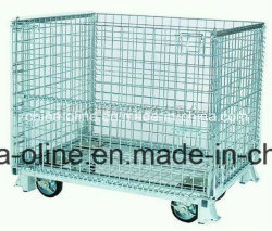 Stackable Folded Wire Mesh Wheeled Cart for Transportation