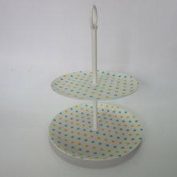 Bamboo Fiber 2 Tier Round Cake Rack Cake Display Stand Paisley Design Tableware