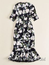 Wholesale Latest Fashion Women Summer V Neck Sexy Mermaid Floral Long Maxi Dress