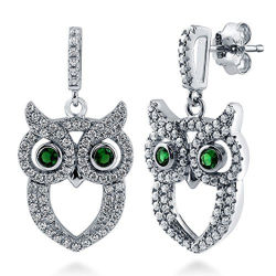 925 Sterling Silver Owl Design Earrings with CZ Rhodium Plated
