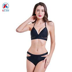 d0b5daeb2b624 Women′s Cheeky Two Piece V Neck Bathing Suit Cutout Tie Black Swimwear