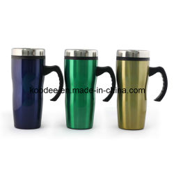 Stainless Steel Outer & Plastic Inner Travel Mug with Handle