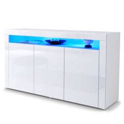 High Glossy UV MDF Board White Sideboard with LED Light