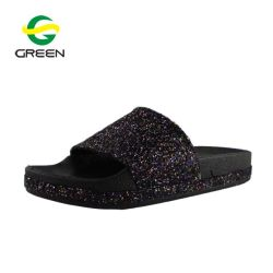 1ebde6a97d16 Greenshoe Ladies Fancy Glitter Shiny Flat Slide Sandal Lady Slide Sandal
