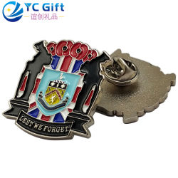 Factory Wholesale Custom Die Casting Plating Silver 3D Logo Tactical Gear UK Army Military Uniform Button Badges Metal Crafts School Sport Products Lapel Pins
