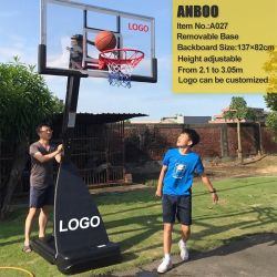 """Indoor&Outdoor Adjustable Movable Portable Basketball Stand with 54"""" Backboard Plastic Base for Basketball Sports"""