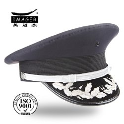 f7dc5ea79fe Customized Military Captain Hat with Silver Embroidery