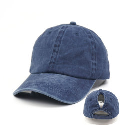 5ececec31b2 Customize Blue Baseball Cap Hat with Women Horsetail Hole Washed Cotton  Twill