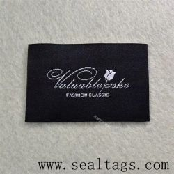 Fashion Customized Laser Cut Washable Clothes Care Printing Printed Size Collar Size Polyester Satin Main Woven Label for Garments, Bags, Sports, Uniform