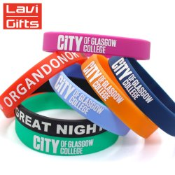 Custom Silicone Fashion Sport Silicon Rubber Band Printing Wristband Bracelet for Promotional Gift