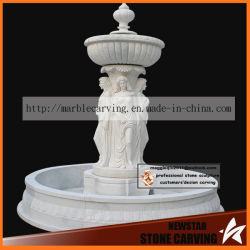 White Marble Modern Water Fountain with Four Beautiful Women
