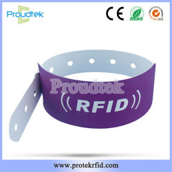 Custom Lh 125kHz ID Disposable RFID Paper Wristbands for Waterpark Ticketing