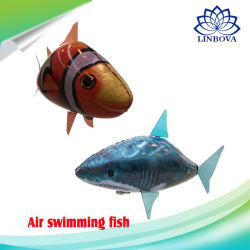 RC Air Swimming Fish Toys Remote Control Swimmer Flying Shark Clown Fish Balloons Inflatable with Helium Plane Kids Toy for Party Christmas Wedding Gifts