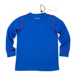 Dark Blue Merino Wool Children's Thermal Underwear Set