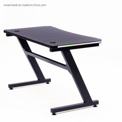 2020 I Latest Design LED Lighting Large MDF Carbon Fiber Texture Gaming Table PC Computer Gaming Desk