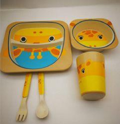 Recyclable Bamboo Fiber Dinnerware Set Biodegradable Kids Feeding Set