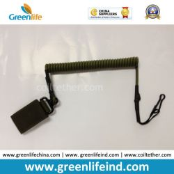 Combat-Green Tactical Pistol Hand Gun Elastic Spring Coiled Lanyard Leash