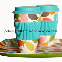 Reusable Biodegradable 400ml 16oz Bamboo Fiber Cup with Silicone Lid and Holder