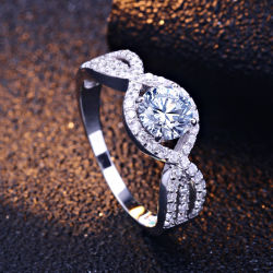 Round Cut Cubic Zirconia 925 Sterling Silver Promise Rings