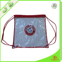 Customized Logo Printing Premium Clear Vinyl Drawstring Backpack Bag for School, Security Travel, Sports with Color Trim