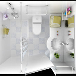 Prefabricated Bathroom, Professionl Toilet Cabin Bathroom Shower With Med  SGS Certification