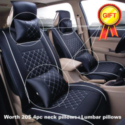 Cheap Car Seat Cover Size L PU Leather 5 Seats Front Rear Cushion W