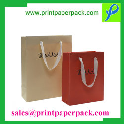 Custom Craft Logo Printed Shopping / Carrier Foldable Packaging Bag, Luxury Recycled Gift Packing Bag, Fashion Kraft Paper Bag for Party / Tea / Shoes / Clothes
