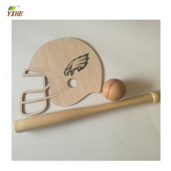Wood Baseball Gift Made of Solid Wood with Engraving Thread