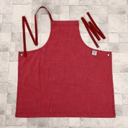 Red Washed Denim Apron Fashion Ladies Workwear Full Bib Apron