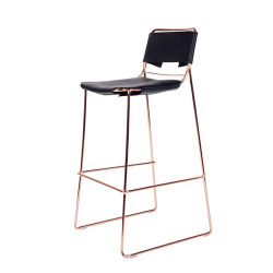 Wholesale Industrial Modern Stackable High Legs Leather Seat Wire Bar Stool Set