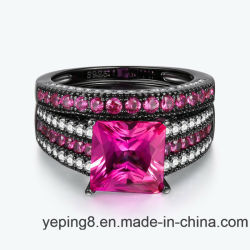 Black Rhodium Plating Fashion Pink 925 Silver Jewelry Ring Set