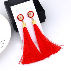 New Design Gold/Silver/Rose Gold/ Multi Colors Drop Earrings Bohemia Plastic Beads with Tassel Earrings for Women