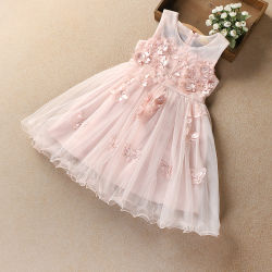 3efeaf344fe8a 2019 Flowers Embroidery Sleeveless Princess Baby Girl Dress Summer Wedding  Party Kid Dress for Girl Wholesale