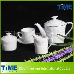 White Porcelain Embossed Wholesale Tea Sets