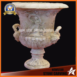 Lady and Leaves Surface Stone Carving Flower Pot Stand for Garden (NS-11P10)